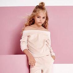 Girls light pink velour bardot sweatshirt £16.00