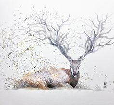 カラフルで幻想的な野生動物たちの水彩画 (6)