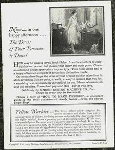 1927 Singer Sewing Machine Yellow Warbler Trade Card & Egg John Livzey Ridgway - back