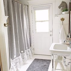 Grey Ruffle Shower Curtain Handmade Shabby Chic Bathroom Curtain