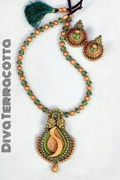 Terracotta set Quilling Jewelry, Polymer Clay Jewelry, Handmade Accessories, Handmade Jewelry, Teracotta Jewellery, Terracotta Jewellery Designs, Beaded Necklace Patterns, Funky Jewelry, Clay Design