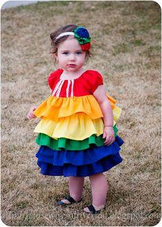 A rainbow ruffle dress for the baby!
