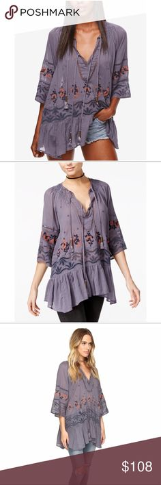 """Free People Embroidered Tunic Top Oversized silhouette. V-neckline with tassel detail. Three-quarter sleeves. Handkerchief hemline. 100% cotton. Hand wash and line dry. Measurements: Length 30"""". Color is more like lavender blue, I am not sure why is called Black Combo? No trades. Reasonable offers welcome. Free People Tops Tunics"""