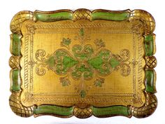 Plateau Florentin vert et or belle patine Made in Italy déco baroque