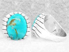 Navajo Ring Size 9½ Men s Turquoise Kingman Sterling Silver Native American