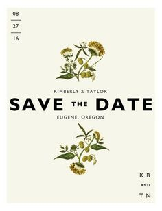 A Save the Date card that's a botanical beauty. Design focused, this Save the Date has a vintage aesthetic.