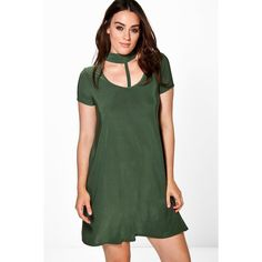 Boohoo Plus Carrie Slinky Strappy Choker Swing Dress   Boohoo ($14) ❤ liked on Polyvore featuring dresses, khaki, strappy swing dress, strappy dress, boohoo dresses, cotton dresses and khaki dress