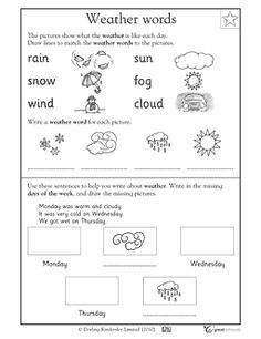 Worksheets Weather Worksheets For Kindergarten worksheets and weather on pinterest