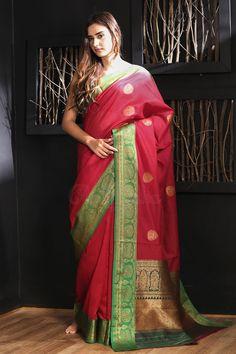 Red Chanderi Silk Saree With Green Border Chanderi Silk Saree, Silk Sarees, Red Saree, Sari, Buy Sarees Online, Chiffon, Elegant, Green, Cotton