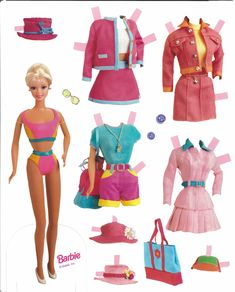 Barbie came out. Barbie paper dolls Here are two Barbie sets, both from the The first has 4 dolls, Barbie, Teresa (looks more like Christie), Ken and Steve. It is probably not a complete set. The second set has one doll and photo clothing. Paper Dolls Clothing, Barbie Paper Dolls, Vintage Paper Dolls, Vintage Barbie, Doll Clothes, Disney Paper Dolls, Frozen Paper Dolls, Dolls Dolls, Rag Dolls