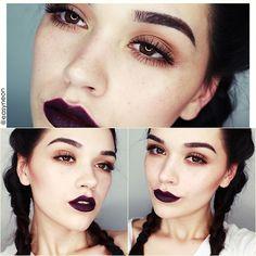 Makeup Looks Dark Lipstick Colour 64 Ideas Makeup Goals, Makeup Inspo, Makeup Tips, Beauty Makeup, Eye Makeup, Hair Beauty, Makeup Ideas, Sultry Makeup, Glamorous Makeup