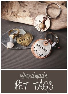 Handmade PET TAGS by Alice Savage. Custom made with your pet name stamped on them, and optional crystal charm for protection and healing! For the love of our pets <3
