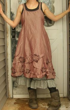 :: Crafty :: Sew :: Clothing ~ Silk Flowers and Scrunches Dress M by sarahclemensclothing on Etsy