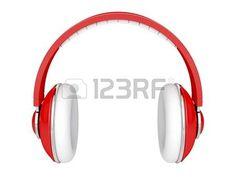 auriculares dj: Red auriculares DJ aislado en blanco Foto de archivo