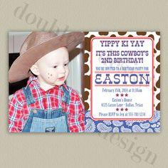 Printable Cowboy Birthday Invitation by double u design on Etsy.