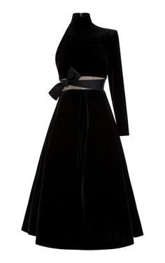 Shop Kingsley Velvet One Sleeve Midi Dress. This **Alex Perry** dress features a mock neck, single long sleeve, and a bow detail at the waist. Trendy Dresses, Casual Dresses, Fashion Dresses, Evening Dresses, Prom Dresses, Long Dresses, Alex Perry, Midi Dress With Sleeves, Ladies Dress Design