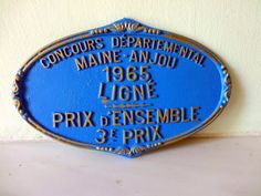Selection of Vintage French Prize Plaques  1960s  by Decofanatique, $25.00