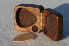 Guitar pick holder black walnut hard wood felt lined magnetic latch perfect gift The original made in the USA Guitar Picks Personalized, Guitar Gifts, Brass Hinges, Guitar Accessories, Surprise Gifts, Bass, Creations, Hard Wood, Diy