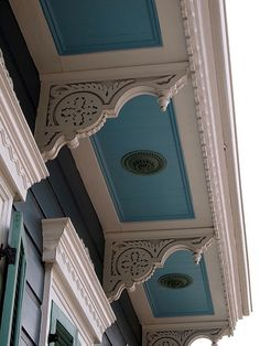 "paint the ceiling ""Creole blue"" much like the porch or balcony cover ceiling would be painted in New Orleans. Bonus: Wards off evil spirits."