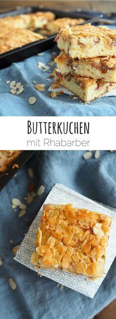 Butterkuchen mit Rhabarber und Mandelkruste | Rhabarberkuchen