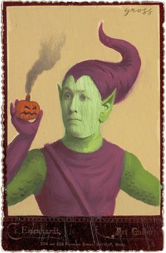 """Green Goblin"" Mixed Media on Antique Photograph by Alex Gross"