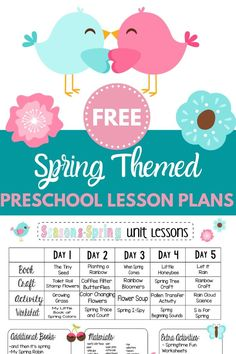Looking for spring themed preschool lesson plans? Check out these free plans with a week's worth of spring themed crafts and activities! It's all done for you and free to print! Preschool Lesson Plans, Free Preschool, Preschool Science, Preschool Learning, Preschool Ideas, Preschool Crafts, Teaching Kids, Seasons Lessons, Child Plan