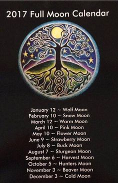 2017 FULL MOON CALENDAR  March 12th is my birthday. Maybe this year will be of importance for me on my journey. ♡