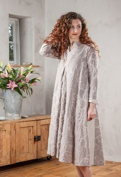 Flare Dress in ribbon embroidered linen with natural insets £285.