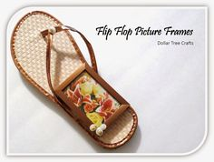 Dollar Tree Crafts:  Flip Flop Picture Frames #DIY Even to Glue Sand and Seashells inside of frame would be cute...
