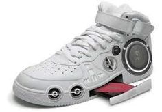 A shoe with head phones, a speaker, and a cd tray. What gets better than that??
