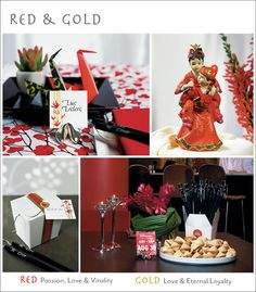 """A Red & Gold Asian Wedding Theme"" I was right: apparently, red+gold=Asian."