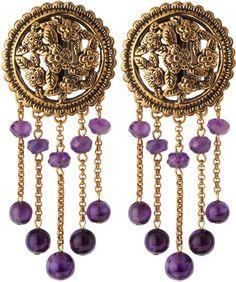 STEPHEN DWECK Purple Filigree Amethyst Clip Earrings, ht