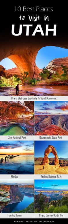 Some would argue that Utah is a state destined for nature lovers; and while there's no arguing about tastes, one thing is certain: it does have jaw-dropping, natural attractions by the bucket loads. Here are 10 Best Places To Visit In Utah travel usa Vacation Destinations, Vacation Spots, Utah Vacation, Vacation Travel, Family Vacations, Summer Travel, Voyage Usa, Destination Voyage, Parcs