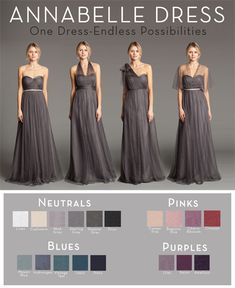 Color choices for Jenny Yoo Annabelle Dress. Mayan Blue, Hydrangea, Mink Grey, and then Warm Mocha & Mist Grey (BHLDN exclusive color, can only be seen on BHLDN site)