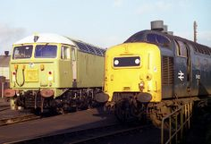 """55022 (D9000) """"ROYAL SCOTS GREY"""" is seen alongside new-build 56074, later named """"KELLINGLEY COLLIERY"""", The pair are seen in front of the weigh house at Doncaster Works on 17th February 1980"""