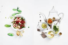 paint, color, food: Love the incorporation of the watercolors with real food.