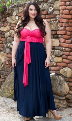 Plus Size Eternity Convertible Maxi Dress at Curvalicious clothes