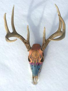 Dreamcatcher Sunset Painted Deer Skull by SorrelHorseStudio