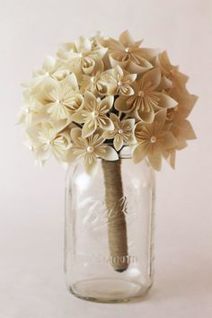 Items similar to Handmade Shabby Chic Kusudama Flower Bride's Bouquet on Etsy Book Flowers, Paper Flowers Diy, Faux Flowers, Flower Crafts, Fabric Flowers, Origami Flower Bouquet, Paper Bouquet, Origami Wedding, Wedding Paper