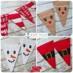CHRISTMAS PENNANTS machine embroidery design by EastCoastApplique on Etsy https://www.etsy.com/listing/170342162/christmas-pennants-machine-embroidery