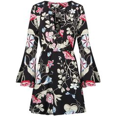 Black Floral Bell Sleeve Dress ($59) ❤ liked on Polyvore featuring dresses, zipper back dress, floral print dress, floral fit-and-flare dresses, bell sleeve dress and floral bell sleeve dress