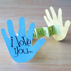 Perfect craft for the kiddos - I love you... this much! A great project for Glue Dots! No mess + no dry time = more family time. Kinda cheesy- but cute!