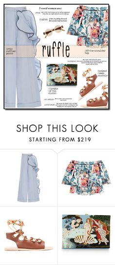 """""""Ruffled pants"""" by anne-irene ❤ liked on Polyvore featuring Johanna Ortiz, Elizabeth and James, Ancient Greek Sandals, Olympia Le-Tan and Le Specs"""