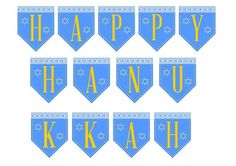 "Free printable ""Happy Hanukkah"" banner! #hanukkah #banner"