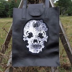 Black Leather Day of the Dead Embroidered Tote Shoulder Bag by KaBoogie on Etsy