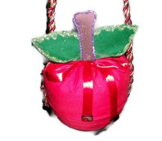 Red Apple Drawstring Purse by GourmetHandbags on Etsy, $16.00
