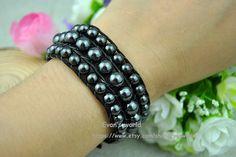 Black Leather Wrap Bead BraceletBlack Bead Bracelet by Evanworld, $15.99