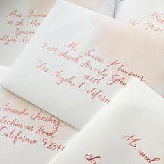 Pink watercolor and pink modern calligraphy addressed wedding invitation envelopes custom by Honey Paper // Santa Barbara wedding // Santa Ynez wedding // It's all in the little wedding details!