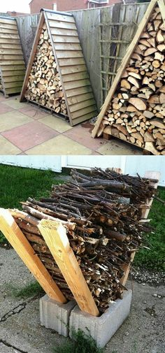 A frame firewood storage, off the ground, protective cover #homeimprovementthanksgiving