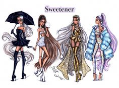 Ariana Grande 'Sweetener' collection by Hayden Williams. Hayden Williams, Ariana Grande Drawings, Ariana Grande Wallpaper, Fashion Design Drawings, Fashion Sketches, Drawing Fashion, Fashion Illustrations, Dress Sketches, Fashion Sketchbook